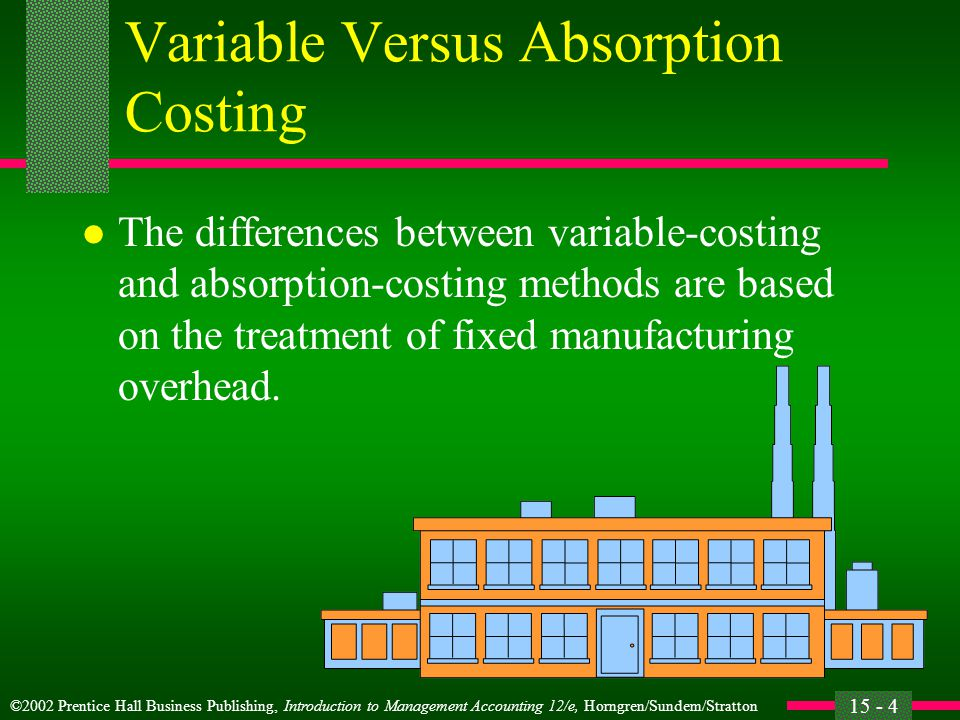 ©2002 Prentice Hall Business Publishing, Introduction to Management Accounting 12/e, Horngren/Sundem/Stratton 15 - 5 Variable Versus Absorption Costing Variable costing excludes fixed manufacturing overhead from inventoriable costs.