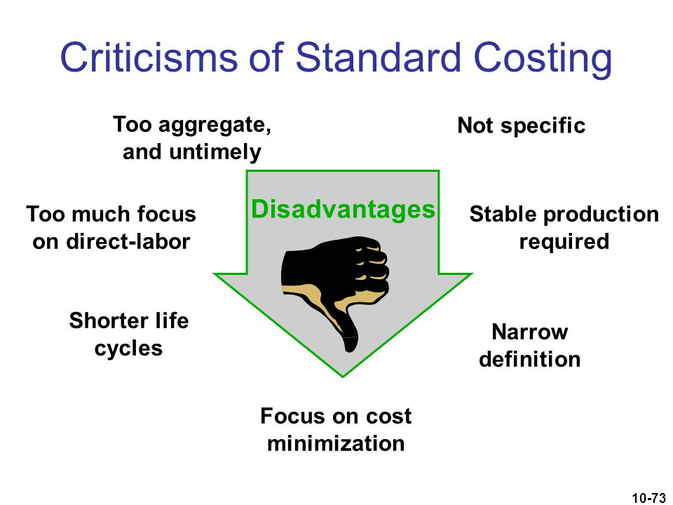 10-73 Criticisms of Standard Costing Not specific Focus on cost minimization Too aggregate, and untimely Disadvantages Too much focus on direct-labor