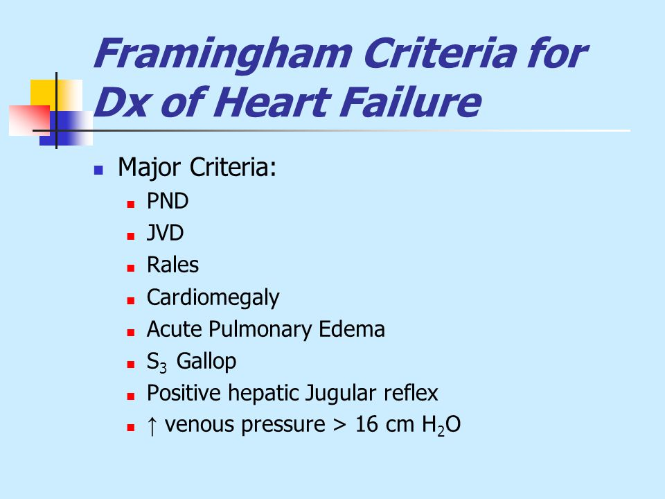 Framingham Criteria for Dx of Heart Failure Major Criteria: PND JVD Rales Cardiomegaly Acute Pulmonary Edema S 3 Gallop Positive hepatic Jugular reflex ↑ venous pressure > 16 cm H 2 O