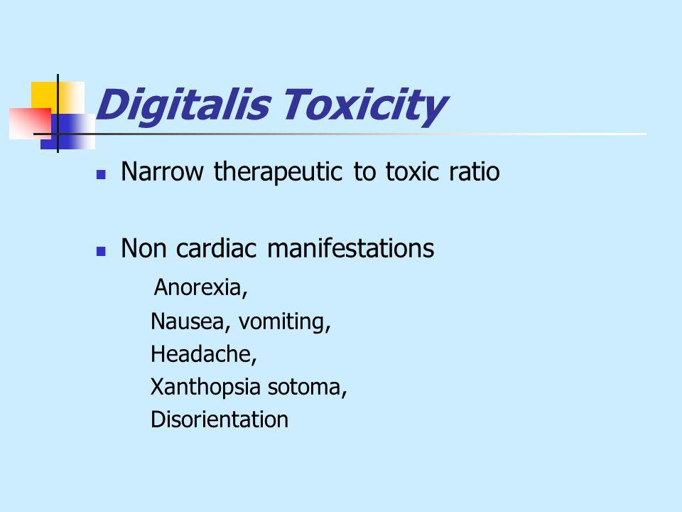 Digitalis Toxicity Narrow therapeutic to toxic ratio Non cardiac manifestations Anorexia, Nausea, vomiting, Headache, Xanthopsia sotoma, Disorientation