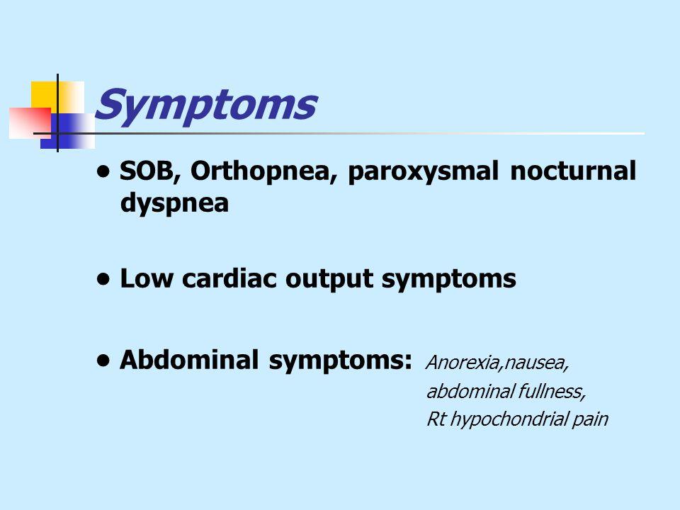 Symptoms SOB, Orthopnea, paroxysmal nocturnal dyspnea Low cardiac output symptoms Abdominal symptoms: Anorexia,nausea, abdominal fullness, Rt hypochondrial pain