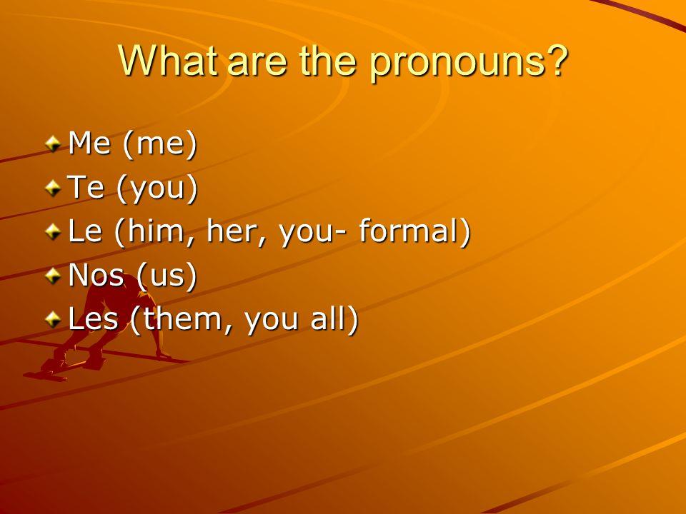 Where do they go.SAME AS DOPs One verb sentence –BEFORE the conjugated verb Yo le digo la verdad.