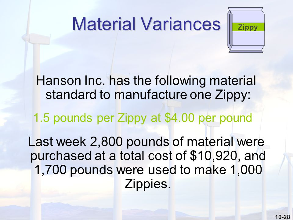 10-28 Hanson Inc. has the following material standard to manufacture one Zippy: 1.5 pounds per Zippy at $4.00 per pound Last week 2,800 pounds of mate