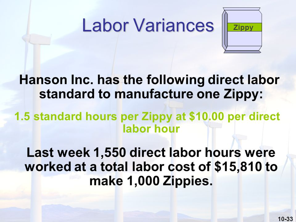10-33 Hanson Inc. has the following direct labor standard to manufacture one Zippy: 1.5 standard hours per Zippy at $10.00 per direct labor hour Last