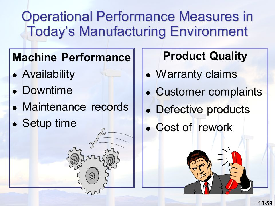 10-59 Machine Performance l Availability l Downtime l Maintenance records l Setup time Product Quality l Warranty claims l Customer complaints l Defective products l Cost of rework Operational Performance Measures in Today's Manufacturing Environment