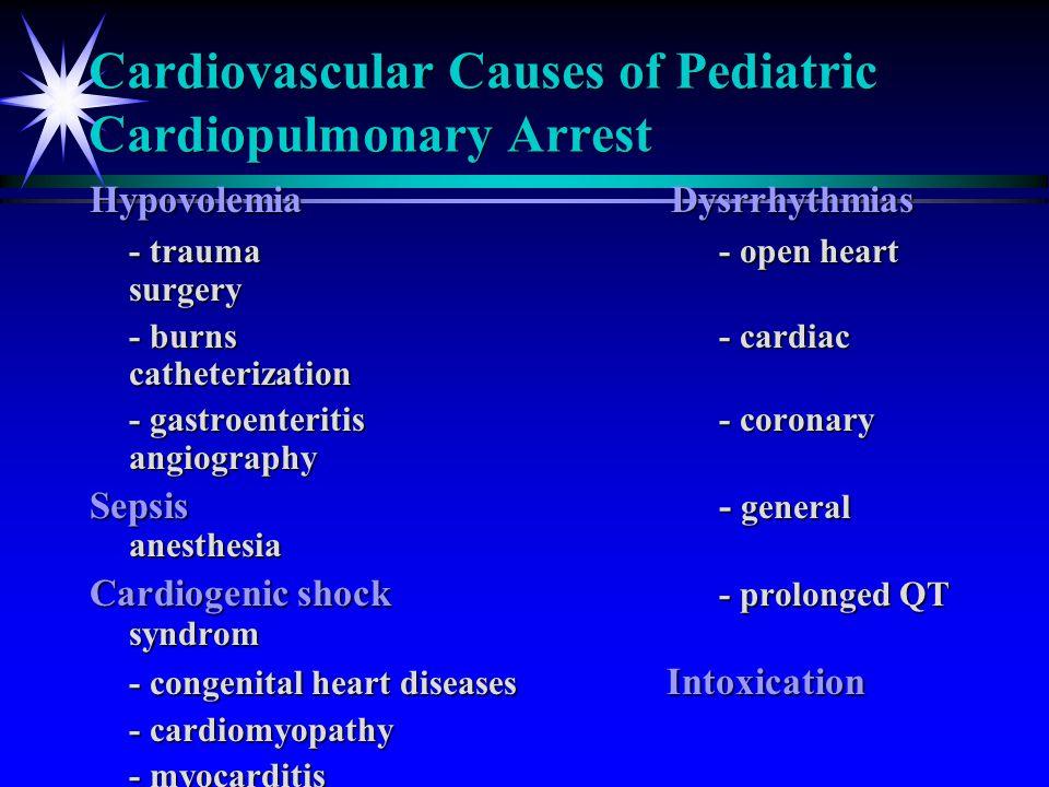 Cardiovascular Causes of Pediatric Cardiopulmonary Arrest Hypovolemia Dysrrhythmias - trauma- open heart surgery - burns- cardiac catheterization - ga