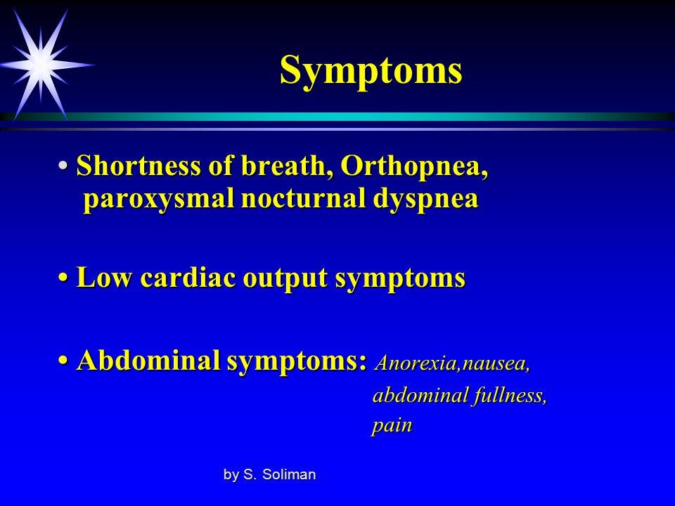 Symptoms Shortness of breath, Orthopnea, paroxysmal nocturnal dyspnea Shortness of breath, Orthopnea, paroxysmal nocturnal dyspnea Low cardiac output