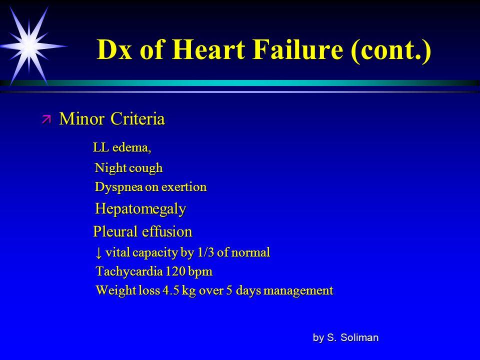 Dx of Heart Failure (cont.) ä Minor Criteria LL edema, LL edema, Night cough Night cough Dyspnea on exertion Dyspnea on exertion Hepatomegaly Hepatome