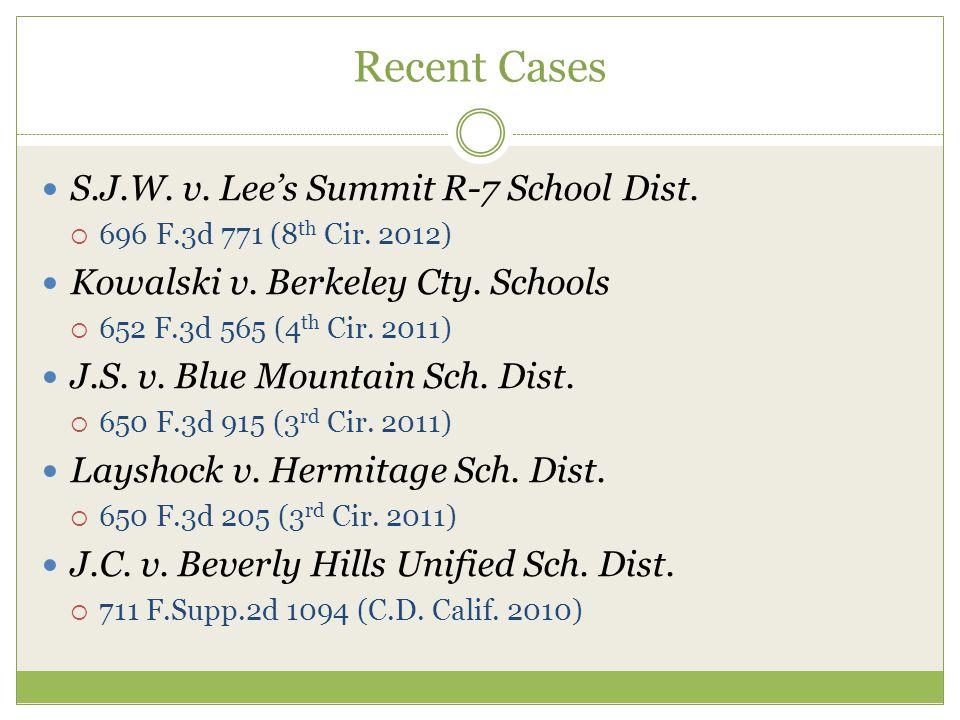 Recent Cases S.J.W. v. Lee's Summit R-7 School Dist.