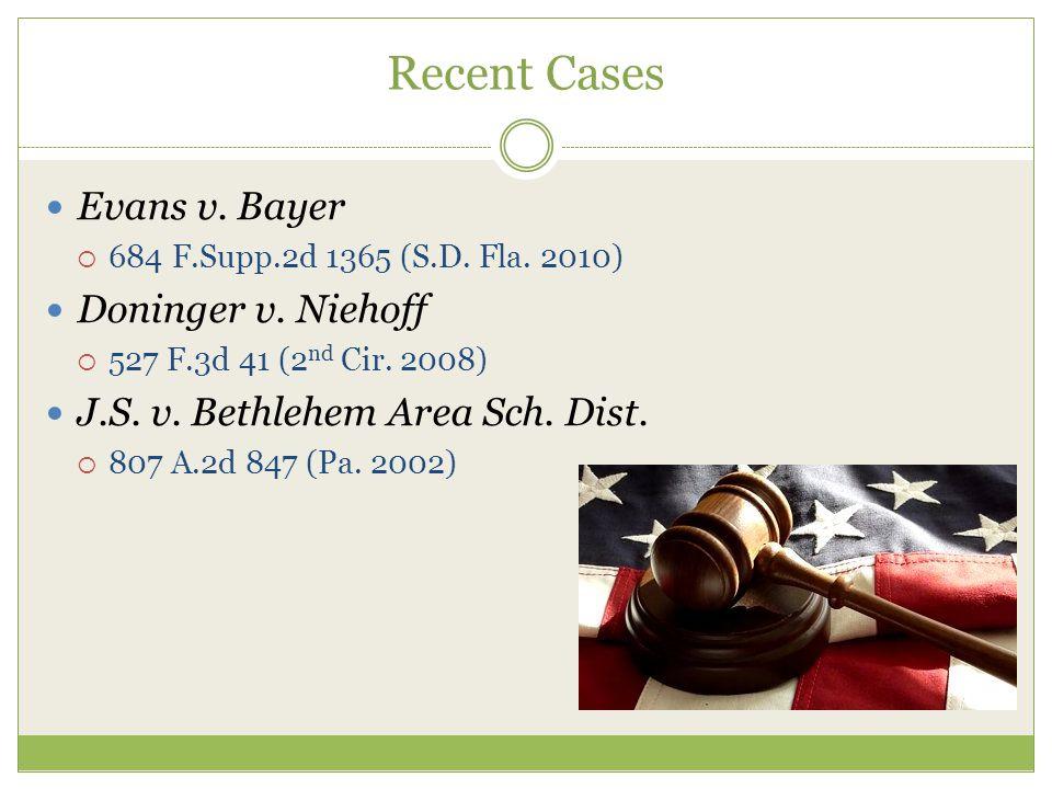 Recent Cases Evans v. Bayer  684 F.Supp.2d 1365 (S.D.