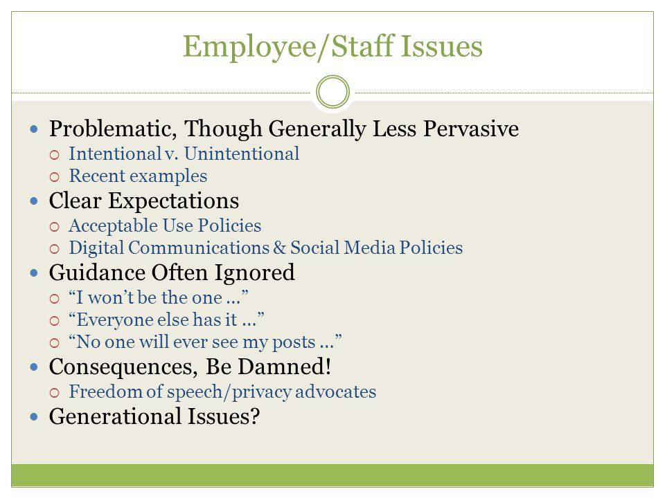 Employee/Staff Issues Problematic, Though Generally Less Pervasive  Intentional v.