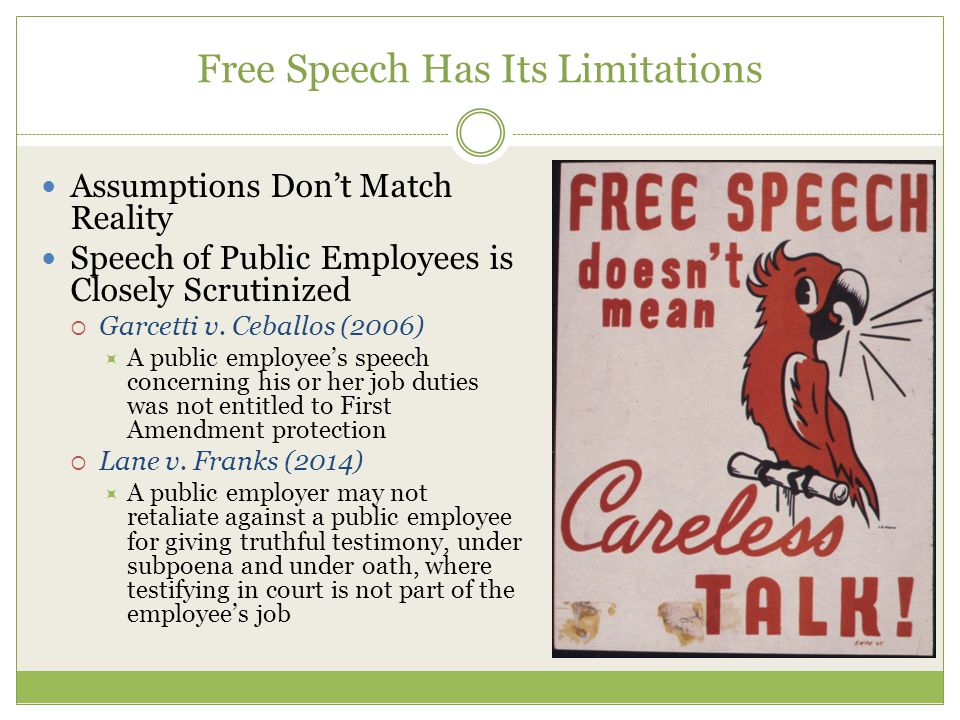 Free Speech Has Its Limitations Assumptions Don't Match Reality Speech of Public Employees is Closely Scrutinized  Garcetti v.