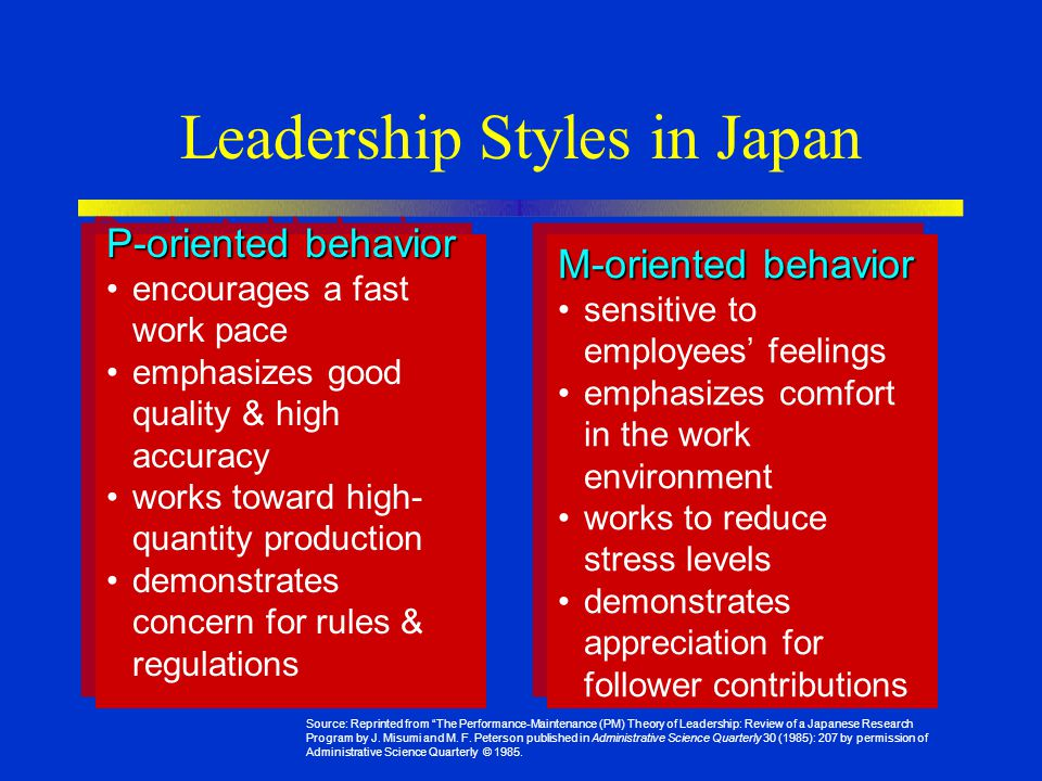 Leadership Styles in Japan P-oriented behavior encourages a fast work pace emphasizes good quality & high accuracy works toward high- quantity production demonstrates concern for rules & regulations P-oriented behavior encourages a fast work pace emphasizes good quality & high accuracy works toward high- quantity production demonstrates concern for rules & regulations M-oriented behavior sensitive to employees' feelings emphasizes comfort in the work environment works to reduce stress levels demonstrates appreciation for follower contributions M-oriented behavior sensitive to employees' feelings emphasizes comfort in the work environment works to reduce stress levels demonstrates appreciation for follower contributions Source: Reprinted from The Performance-Maintenance (PM) Theory of Leadership: Review of a Japanese Research Program by J.