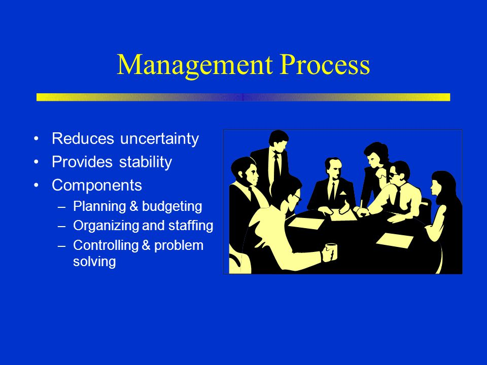 Management Process Reduces uncertainty Provides stability Components –Planning & budgeting –Organizing and staffing –Controlling & problem solving