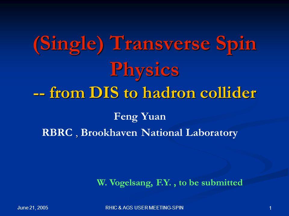 June 21, 2005 2RHIC & AGS USER MEETING-SPIN Outline Introduction Introduction More: RBRC Workshop on SSA (June 1-3) http://quark.phy.bnl.gov/~fyuan/workshop/s ummer05_program.htm More: RBRC Workshop on SSA (June 1-3) http://quark.phy.bnl.gov/~fyuan/workshop/s ummer05_program.htm SSA in SIDIS, Physics of TMDs SSA in SIDIS, Physics of TMDs SSA at hadron colliders (RHIC) SSA at hadron colliders (RHIC) Summary Summary