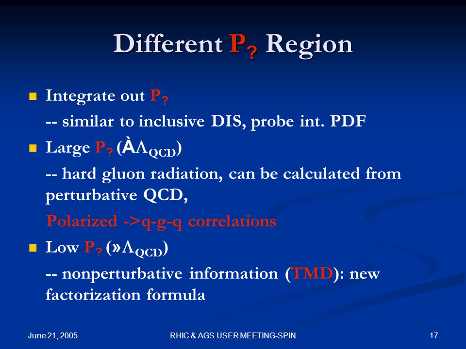 June 21, 2005 17RHIC & AGS USER MEETING-SPIN Different P .