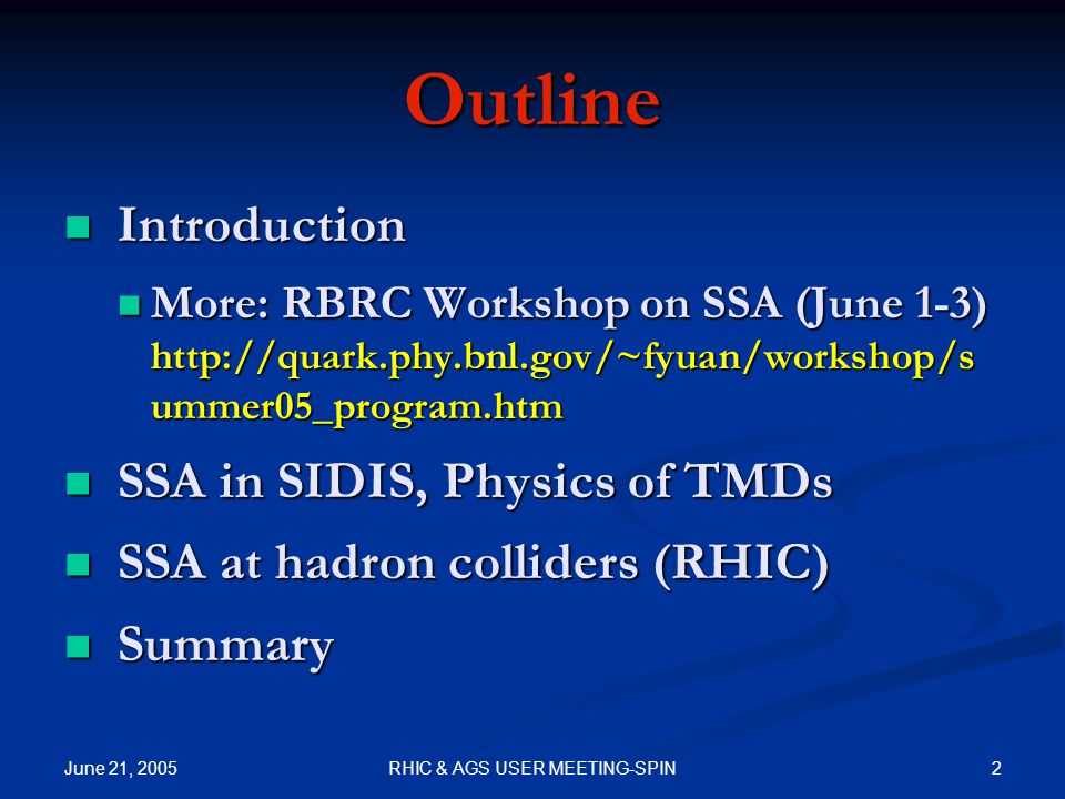 June 21, 2005 33RHIC & AGS USER MEETING-SPIN Compare to COMPASS Assume the leading hadrons are pions Discrepancy?