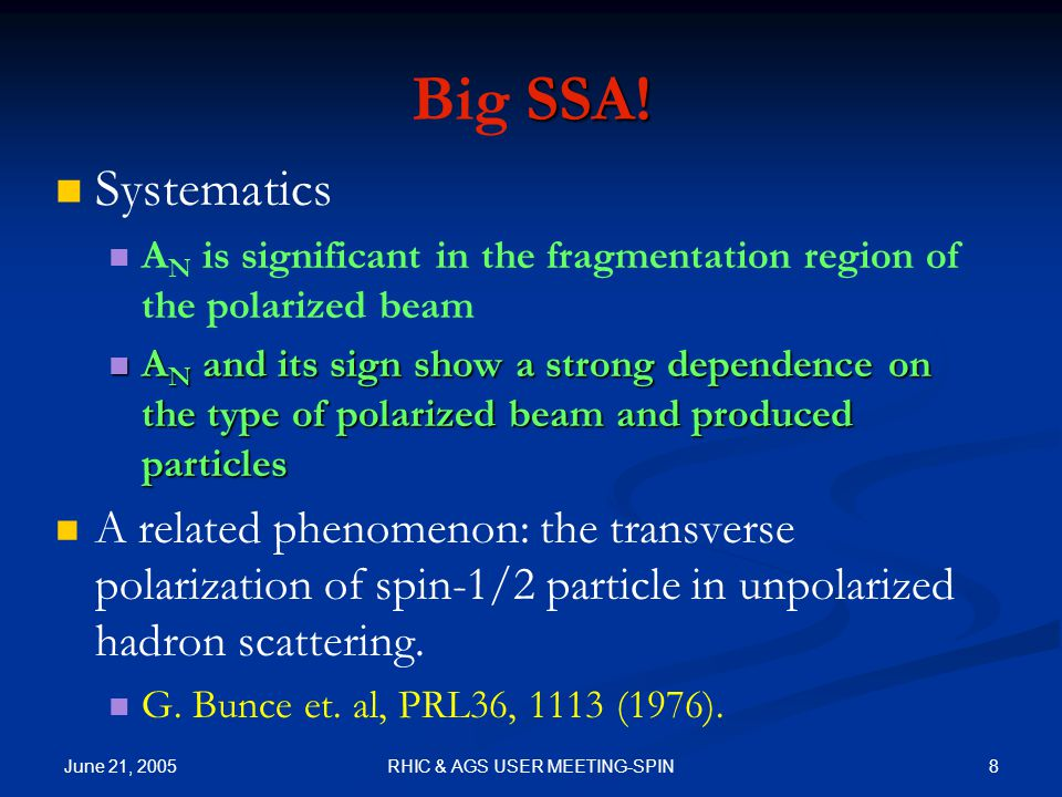 June 21, 2005 8RHIC & AGS USER MEETING-SPIN SSA. Big SSA.