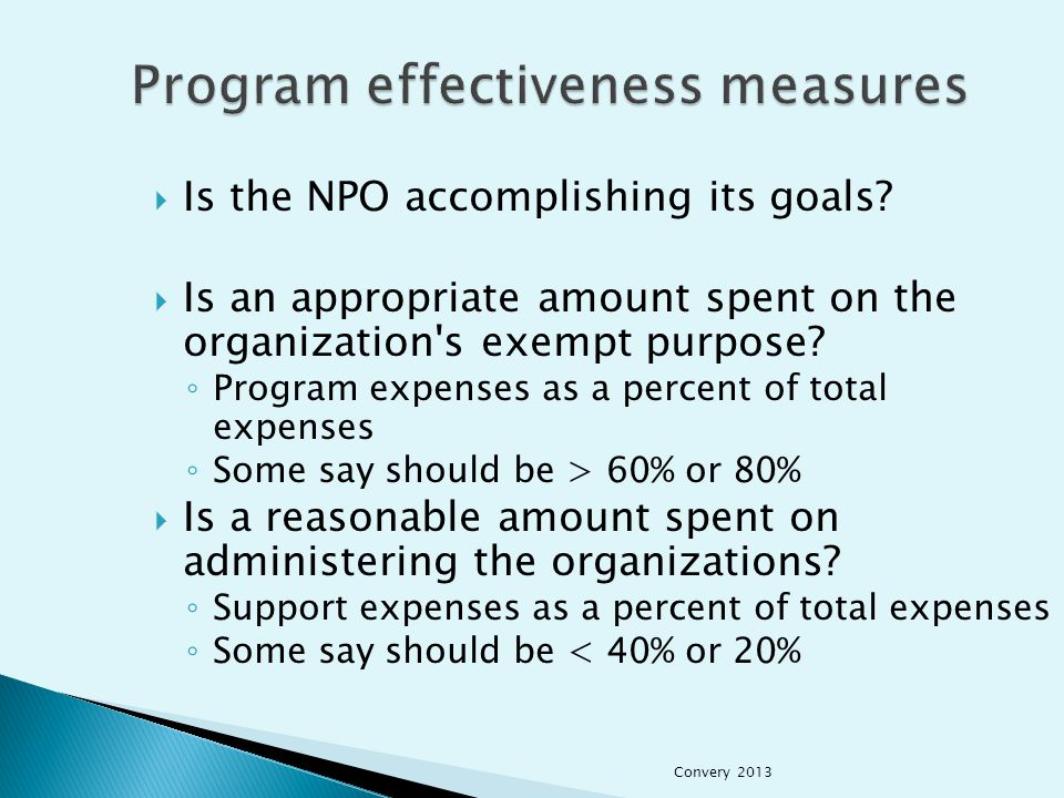  Is the NPO accomplishing its goals.