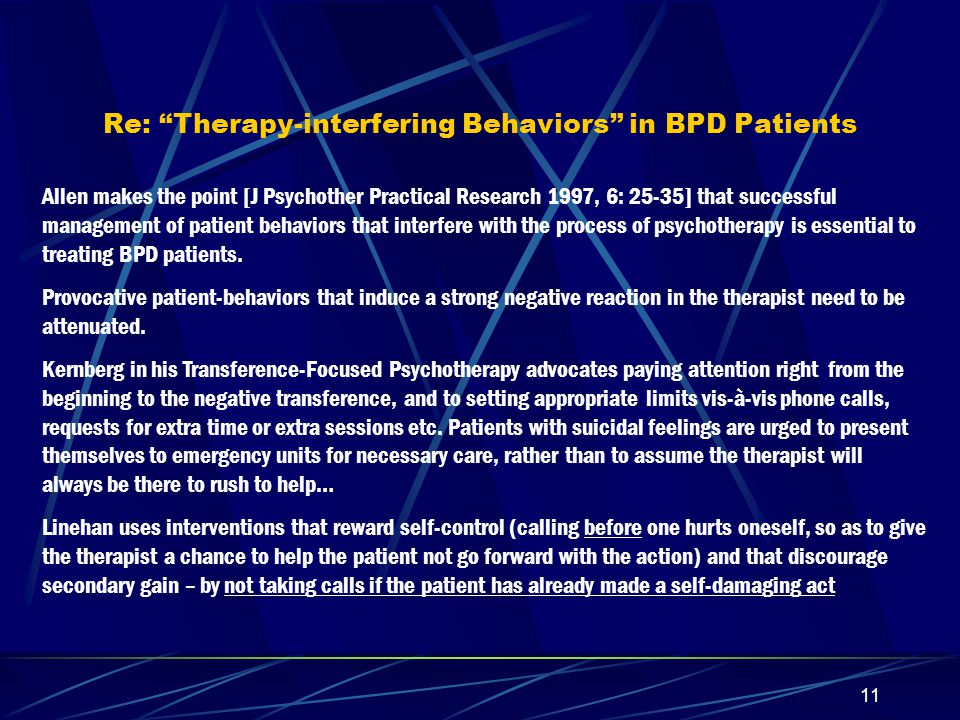 10 Some further comments on Interpersonal Psychotherapy Lorna Smith Benjamin drew attention to the earlier literature suggesting that the only approaches specific to the treatment of personality disorders that had proven to be effective – were the behavioral, the cognitive-behavioral, and the psychopharmacological.