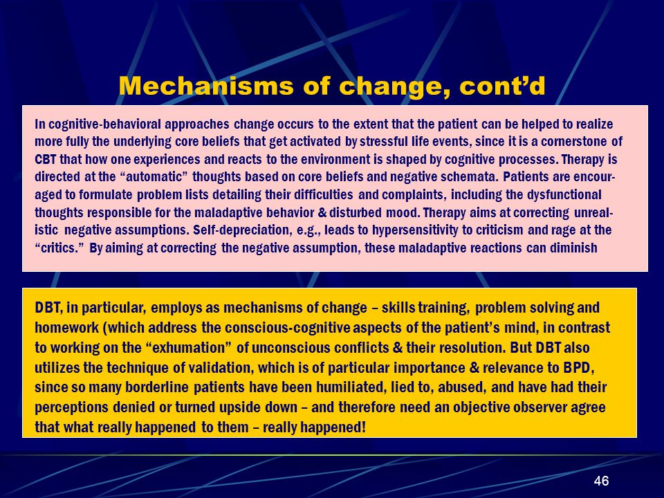 45 About mechanisms of change Interventions in Interpersonal therapy that help produce positive changes include: exploring parallels in other relationships, exploring relationship patterns, providing support, signaling what is significant, exploring affect, problem-solving, drawing analogies, challenging (unrealistic or paradoxical assumptions) [Crowe & Luty: Psychiatry 68: 43, 2005].