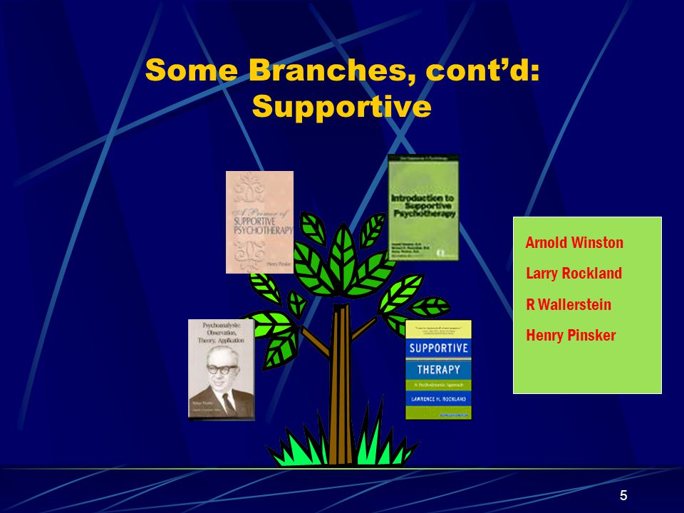 4 Some Branches, cont'd: Cognitive-Behavioral Linehan LS Benjamin A Ryle Jeff Young Klerman/Weissman A Beck & A Freeman