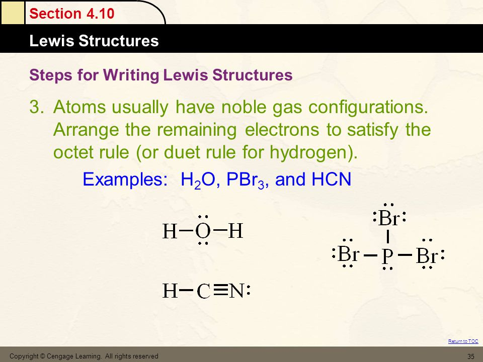 Section 4.10 Lewis Structures Return to TOC Copyright © Cengage Learning. All rights reserved 35 Steps for Writing Lewis Structures 3.Atoms usually ha