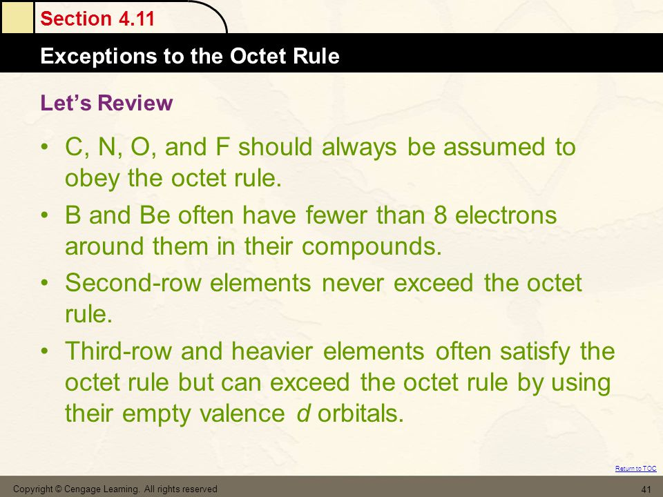 Section 4.11 Exceptions to the Octet Rule Return to TOC Copyright © Cengage Learning. All rights reserved 41 Let's Review C, N, O, and F should always