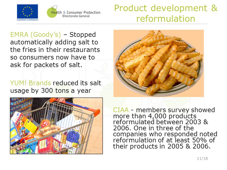 11/18 Product development & reformulation CIAA - members survey showed more than 4,000 products reformulated between 2003 & 2006. One in three of the