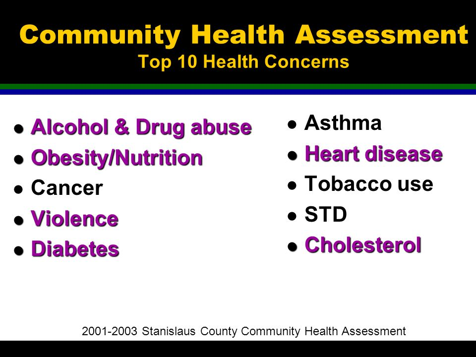Community Health Assessment Top 10 Health Concerns l Alcohol & Drug abuse l Obesity/Nutrition l Cancer l Violence l Diabetes l Asthma l Heartdisease l Heart disease l Tobacco use l STD l Cholesterol 2001-2003 Stanislaus County Community Health Assessment
