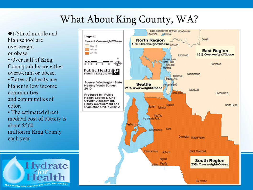 What About King County, WA? 1/5th of middle and high school are overweight or obese. Over half of King County adults are either overweight or obese. R