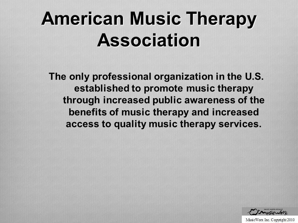 AMTA Standards of Clinical Practice  To ensure the quality of music delivered to clients, all music therapists must follow a general procedure for each individual that includes:  Referral and acceptance  Assessment  Treatment planning  Implementation of music therapy interventions  Documentation of sessions and follow-up  Discharge planning and termination of services