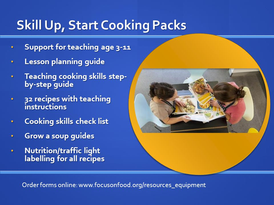 Cook School Website & App Bank of recipes Bank of recipes Search via pupil age, season, ingredient or cooking skill Search via pupil age, season, ingredient or cooking skill Wider learning Wider learning Visit: www.focusonfoodcookschool.co.uk