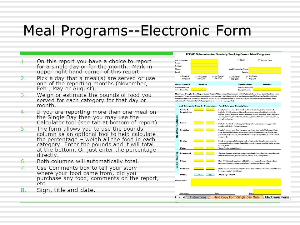 Meal Programs--Electronic Form 1.On this report you have a choice to report for a single day or for the month.