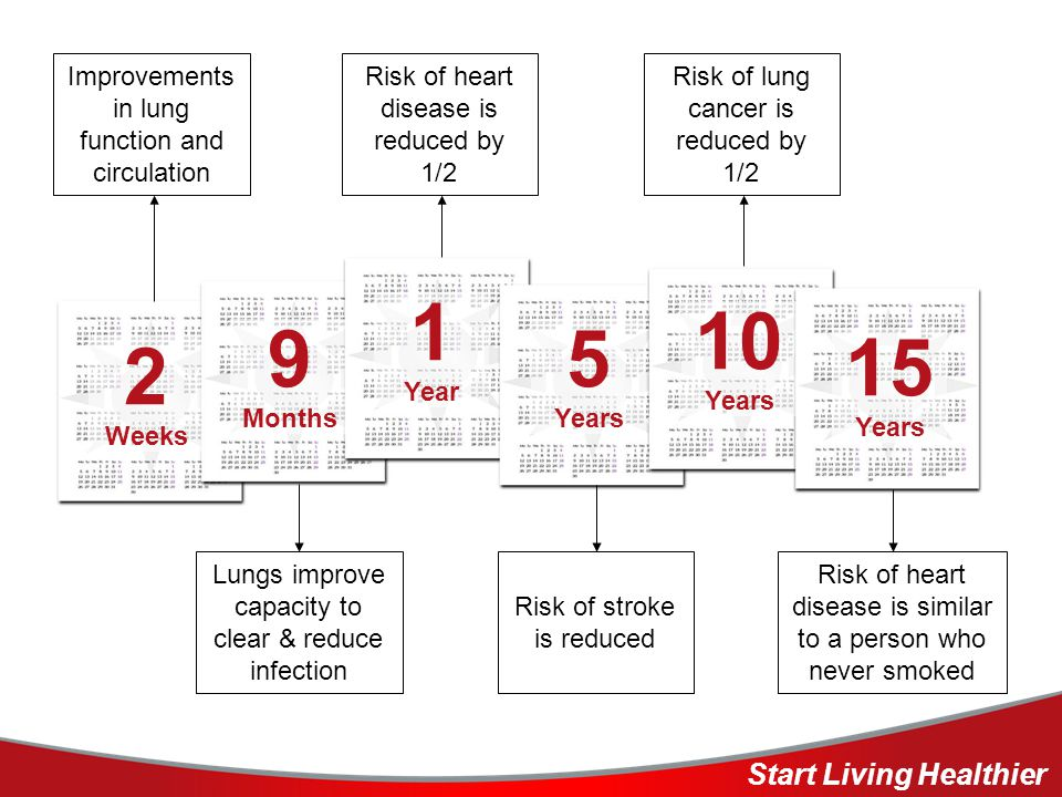Improvements in lung function and circulation Risk of heart disease is reduced by 1/2 Risk of lung cancer is reduced by 1/2 Lungs improve capacity to clear & reduce infection Risk of stroke is reduced Risk of heart disease is similar to a person who never smoked 2 Weeks 9 Months 1 Year 5 Years 10 Years 15 Years Start Living Healthier