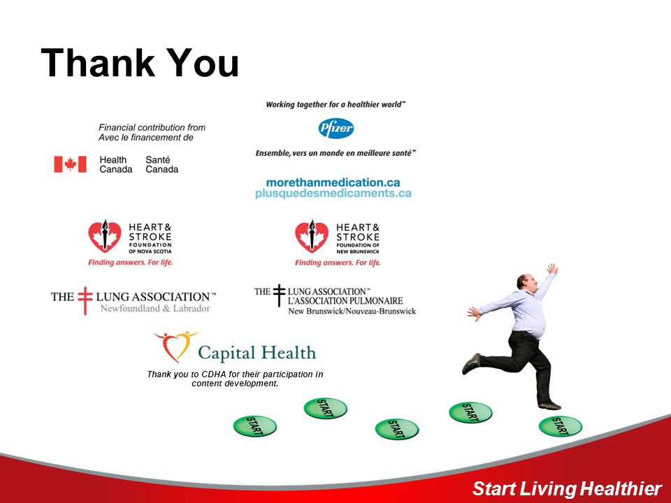 Thank You Start Living Healthier Thank you to CDHA for their participation in content development.