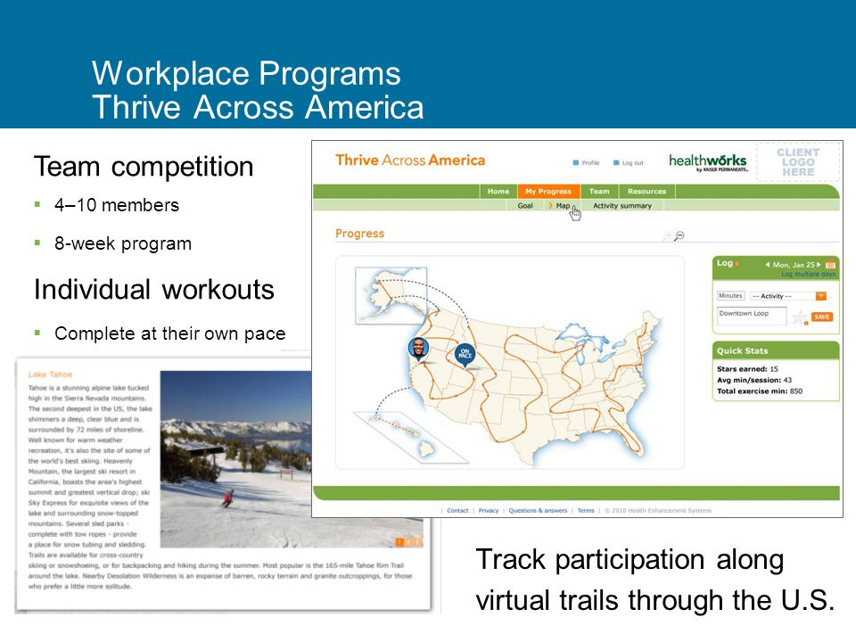 8 Workplace Programs Thrive Across America Track participation along virtual trails through the U.S.