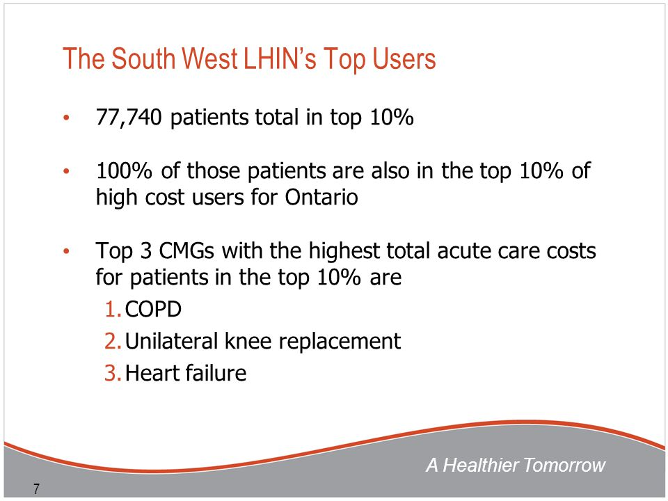 A Healthier Tomorrow 7 The South West LHIN's Top Users 77,740 patients total in top 10% 100% of those patients are also in the top 10% of high cost us