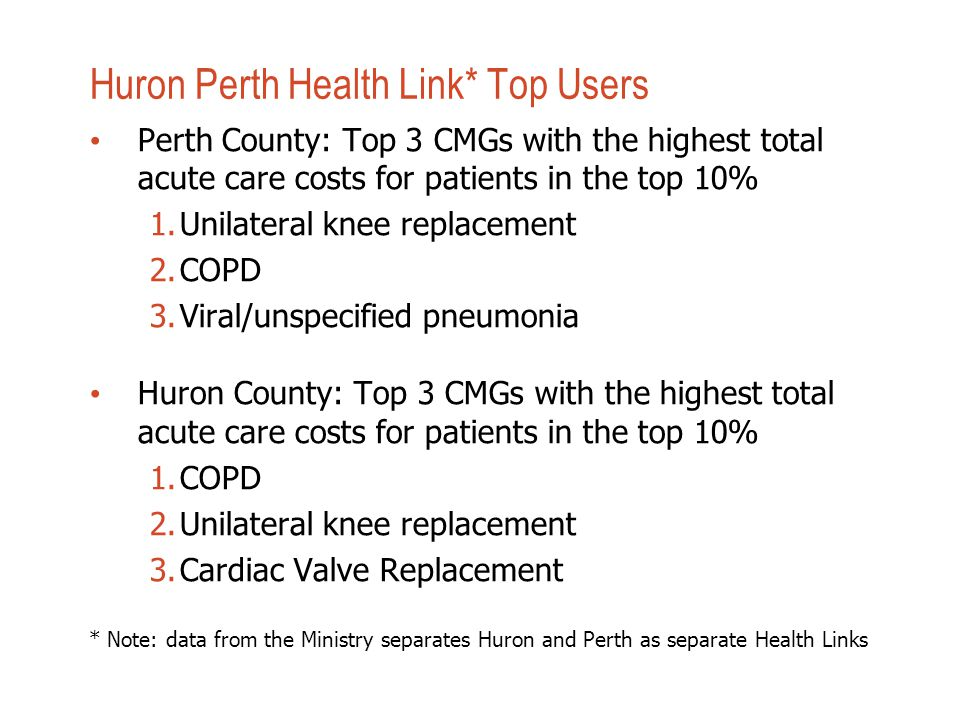 Huron Perth Health Link* Top Users Perth County: Top 3 CMGs with the highest total acute care costs for patients in the top 10% 1.Unilateral knee replacement 2.COPD 3.Viral/unspecified pneumonia Huron County: Top 3 CMGs with the highest total acute care costs for patients in the top 10% 1.COPD 2.Unilateral knee replacement 3.Cardiac Valve Replacement * Note: data from the Ministry separates Huron and Perth as separate Health Links