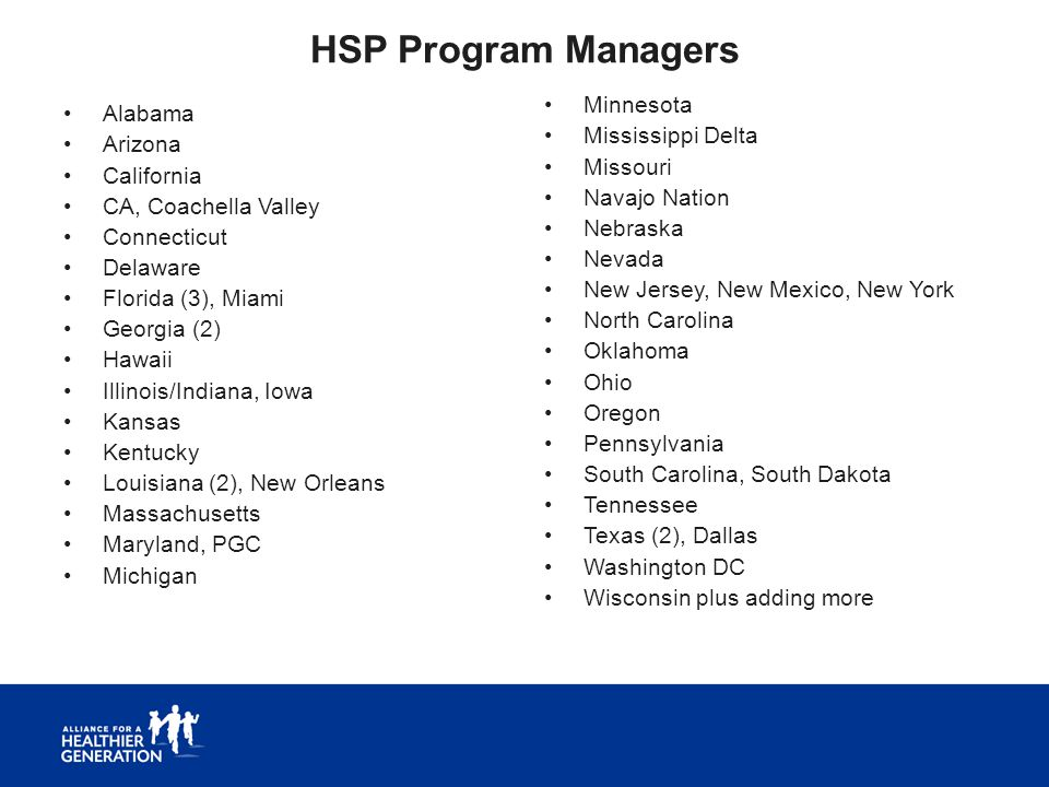 HSP Program Managers Alabama Arizona California CA, Coachella Valley Connecticut Delaware Florida (3), Miami Georgia (2) Hawaii Illinois/Indiana, Iowa