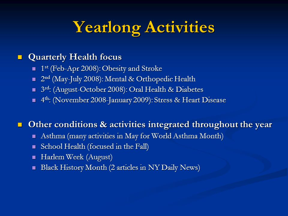 Yearlong Activities Quarterly Health focus Quarterly Health focus 1 st (Feb-Apr 2008): Obesity and Stroke 1 st (Feb-Apr 2008): Obesity and Stroke 2 nd (May-July 2008): Mental & Orthopedic Health 2 nd (May-July 2008): Mental & Orthopedic Health 3 rd : (August-October 2008): Oral Health & Diabetes 3 rd : (August-October 2008): Oral Health & Diabetes 4 th : (November 2008-January 2009): Stress & Heart Disease 4 th : (November 2008-January 2009): Stress & Heart Disease Other conditions & activities integrated throughout the year Other conditions & activities integrated throughout the year Asthma (many activities in May for World Asthma Month) Asthma (many activities in May for World Asthma Month) School Health (focused in the Fall) School Health (focused in the Fall) Harlem Week (August) Harlem Week (August) Black History Month (2 articles in NY Daily News) Black History Month (2 articles in NY Daily News)