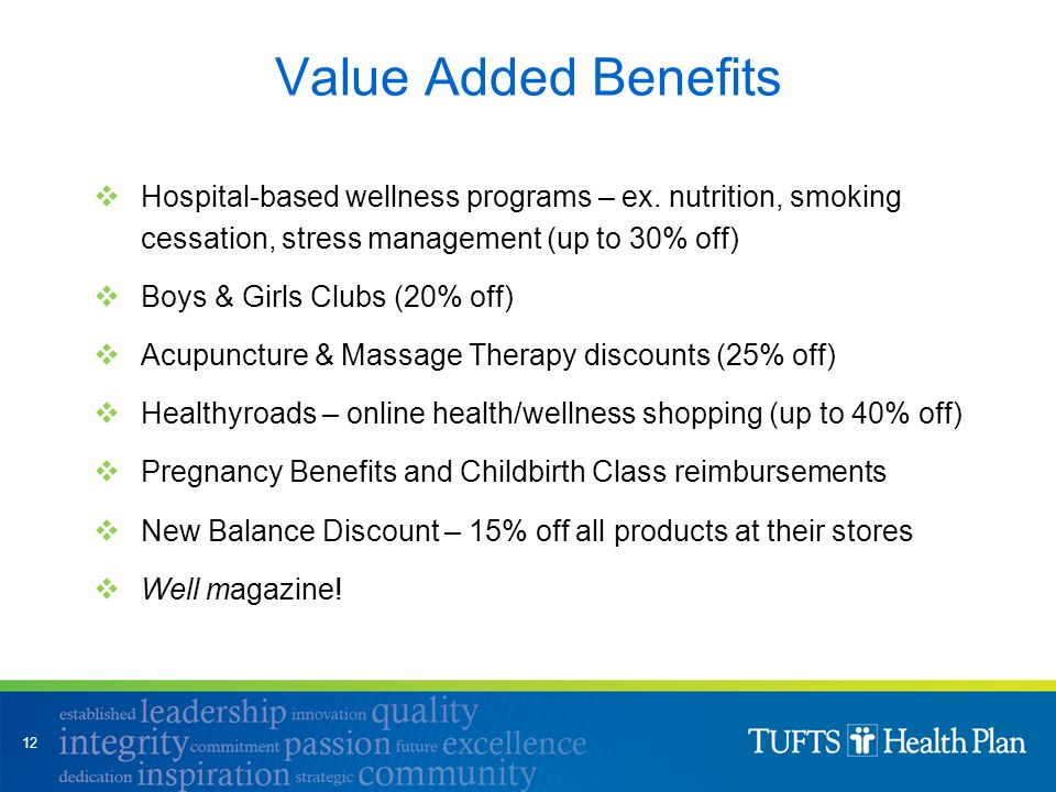 Value Added Benefits  Hospital-based wellness programs – ex. nutrition, smoking cessation, stress management (up to 30% off)  Boys & Girls Clubs (20