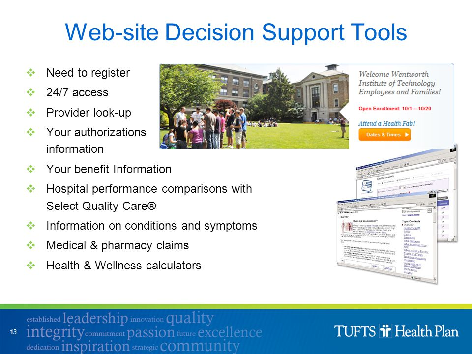 Web-site Decision Support Tools  Need to register  24/7 access  Provider look-up  Your authorizations information  Your benefit Information  Hos