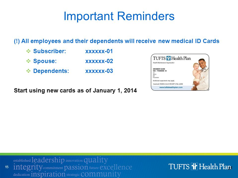 15 (!) All employees and their dependents will receive new medical ID Cards  Subscriber: xxxxxx-01  Spouse: xxxxxx-02  Dependents: xxxxxx-03 Start using new cards as of January 1, 2014 Important Reminders 15