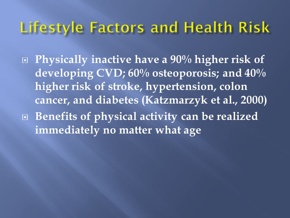  Physically inactive have a 90% higher risk of developing CVD; 60% osteoporosis; and 40% higher risk of stroke, hypertension, colon cancer, and diabetes (Katzmarzyk et al., 2000)  Benefits of physical activity can be realized immediately no matter what age