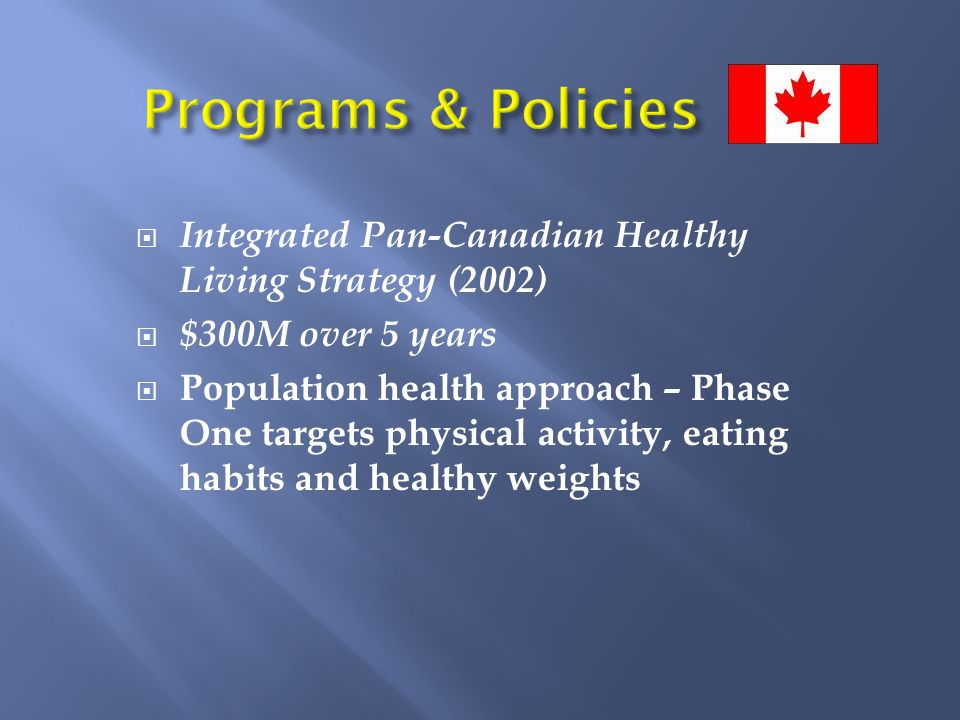  Integrated Pan-Canadian Healthy Living Strategy (2002)  $300M over 5 years  Population health approach – Phase One targets physical activity, eating habits and healthy weights