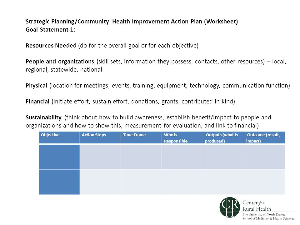 Strategic Planning/Community Health Improvement Action Plan (Worksheet) Goal Statement 1: Resources Needed (do for the overall goal or for each objective) People and organizations (skill sets, information they possess, contacts, other resources) – local, regional, statewide, national Physical (location for meetings, events, training; equipment, technology, communication function) Financial (initiate effort, sustain effort, donations, grants, contributed in-kind) Sustainability (think about how to build awareness, establish benefit/impact to people and organizations and how to show this, measurement for evaluation, and link to financial) ObjectiveAction StepsTime Frame Who is Responsible Outputs (what is produced) Outcome (result, impact)