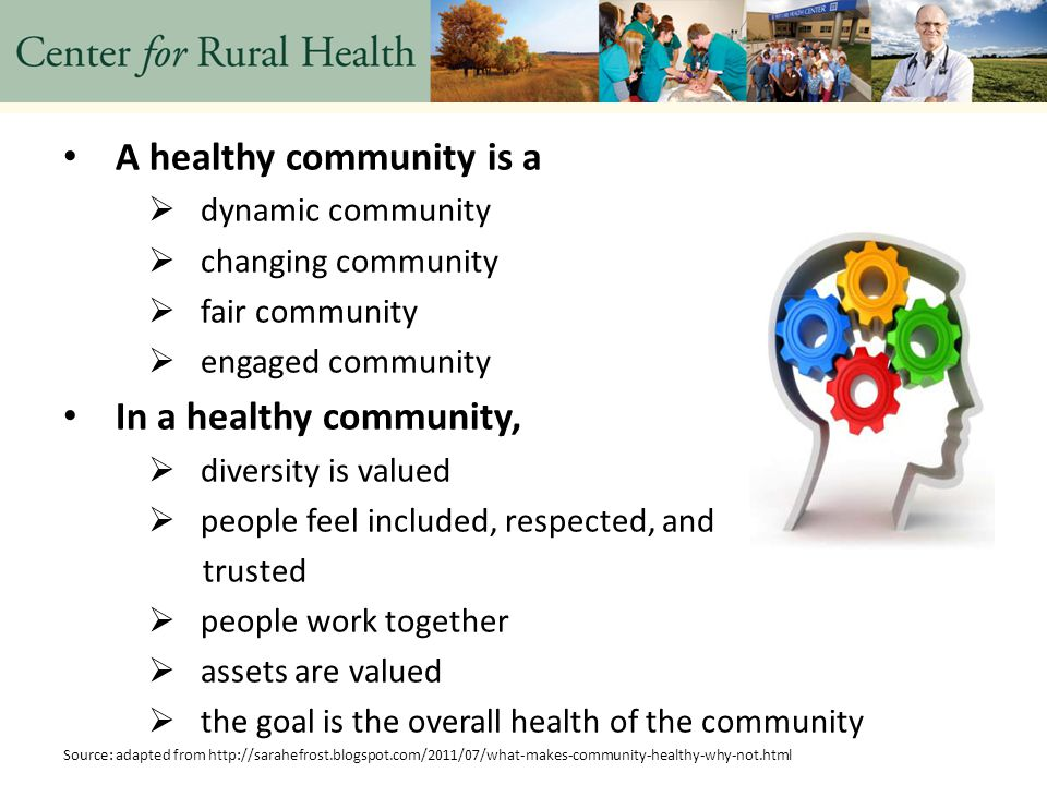 A healthy community is a  dynamic community  changing community  fair community  engaged community In a healthy community,  diversity is valued  people feel included, respected, and trusted  people work together  assets are valued  the goal is the overall health of the community Source: adapted from http://sarahefrost.blogspot.com/2011/07/what-makes-community-healthy-why-not.html