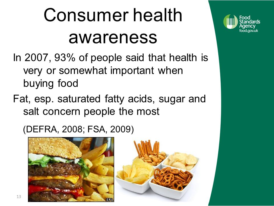 Consumer health awareness In 2007, 93% of people said that health is very or somewhat important when buying food Fat, esp.