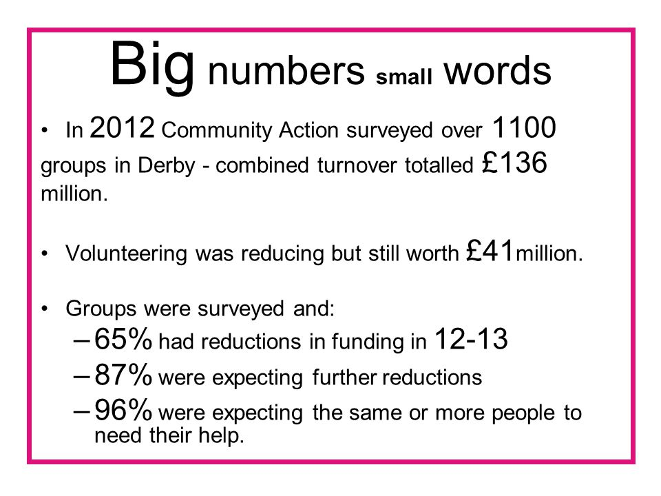 Big numbers small words In 2012 Community Action surveyed over 1100 groups in Derby - combined turnover totalled £136 million.
